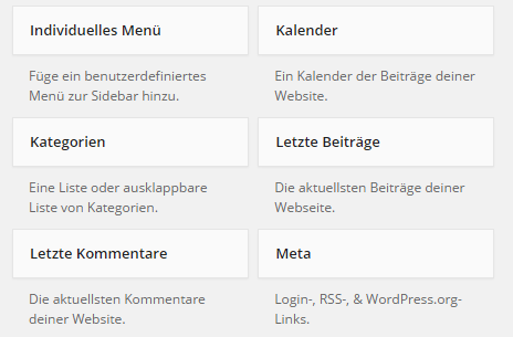 Standard-Widgets in Wordpress-Backend