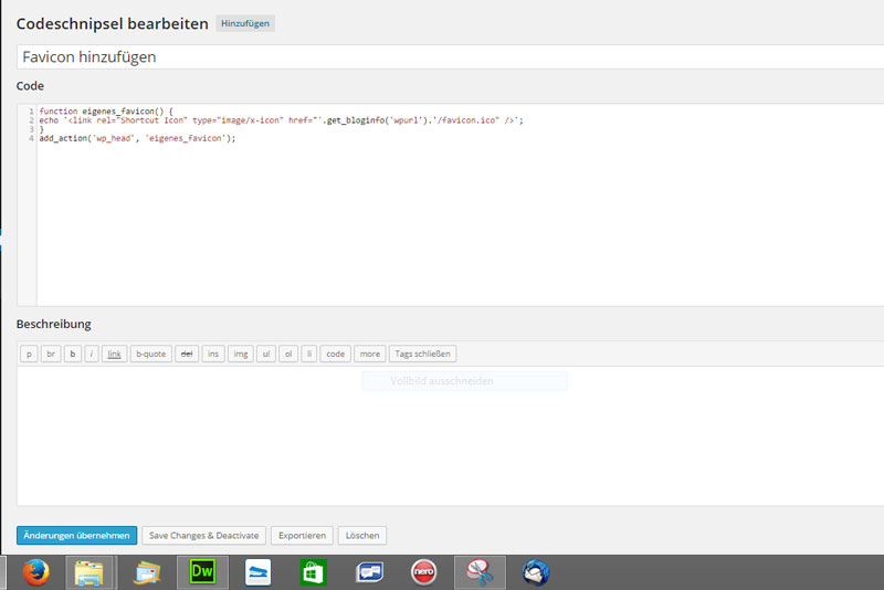 Code Snippet Edit @eigenes Screenshot