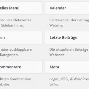 Standard-Widgets in WordPress-Backend