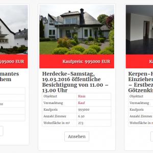 Immobilien in der Spaltenansicht